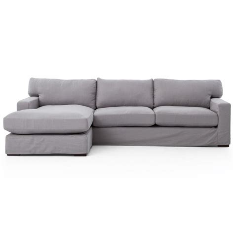 linen sectional elle modern classic pewter grey linen sectional sofa