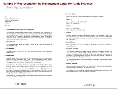 Management Letter Template by Represent By Management Aas 11 Accounting Education