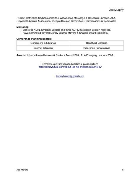acrl instruction section cv joe murphy librarian resume
