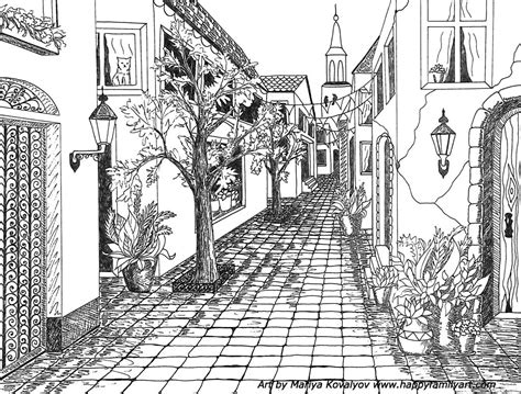 single point perspective drawing   street