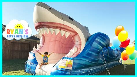 Backyard Inflatable Water Park Giant Inflatable Shark Water Slide For Kids Youtube