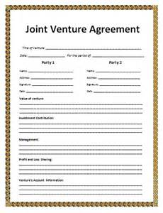 Joint Venture Agreement Template Free by Blank Joint Venture Agreement Template Free Word S Templates
