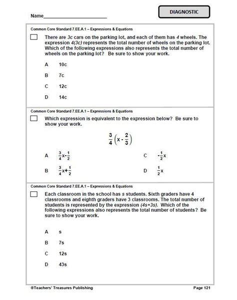 Common Math Standards Grade 7 Printable