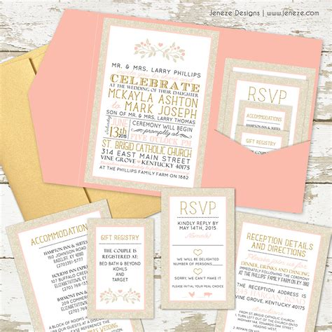 what should i include in my wedding invitations what to put in your pocket wedding invitations jeneze designs