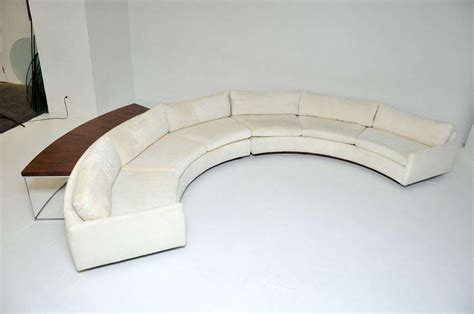 half circle sofas milo baughman semi circle sofa w console table at 1stdibs