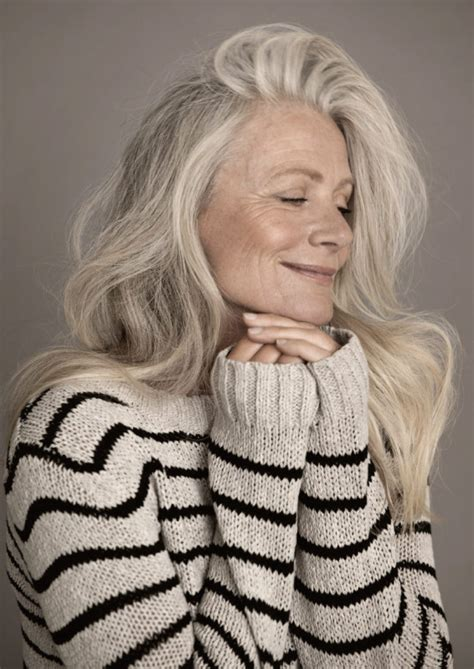long hair 60 age model embracing aging women over 60