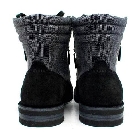 chanel mens boots chanel s grey high top boots with black suede trims