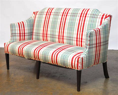 plaid couches and loveseats modern sheraton style plaid settee sofa at 1stdibs