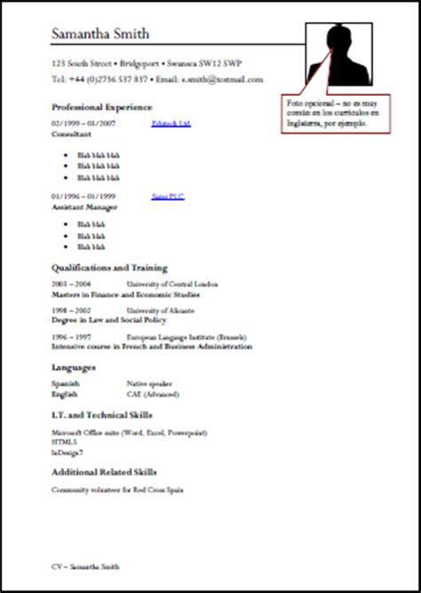 Plantillas De Curriculum En Ingles Word modelo de curriculum vitae ingles modelo de curriculum vitae