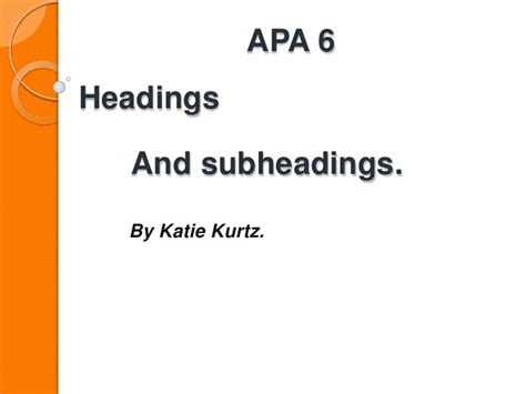Apa Paper With Headings And Subheadings