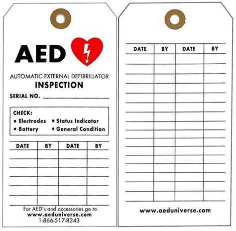 Aed Inspection Tags Aed Inspection Records 5 Pack Aed Program Template