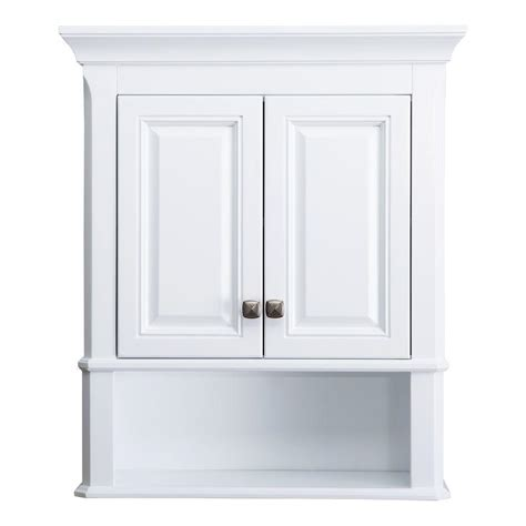 Bathroom Storage Cupboards White Home Decorators Collection Moorpark 24 In W Bathroom Storage Wall Cabinet In White Mpwc2428