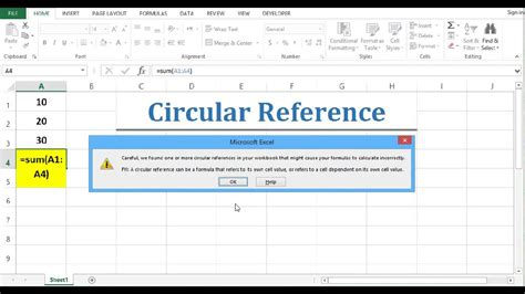circular reference fixing circular reference  excel  youtube