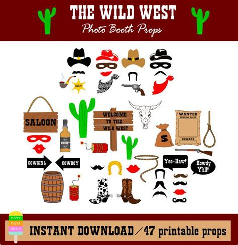 free printable photo booth props cowboy printable cowboy photo booth props photo booth sign wild