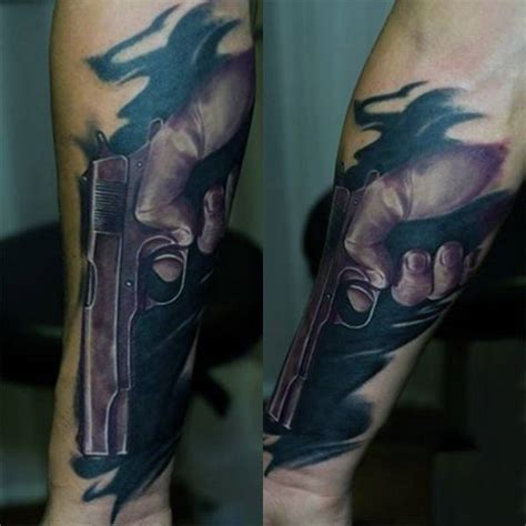 smokin guns tattoo 50 gun tattoos for explosive bullet design ideas
