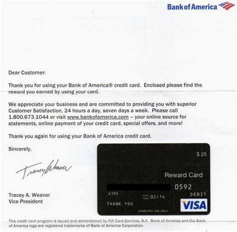 Bank Of America Gift Card Balance - credit cards a very nice thank you from bank of america