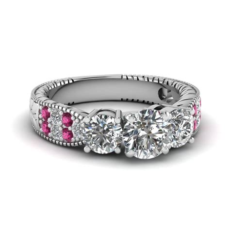 cut flake edge vintage ring with pink