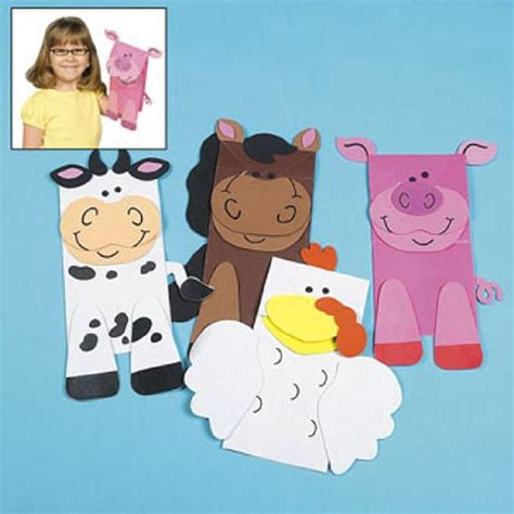 Paper Bag Puppet Craft - cheap farm animal puppet paper bag craft kits 1 dz