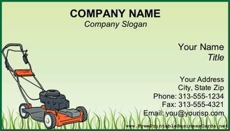 business card lawn mower templates lawnmower business card