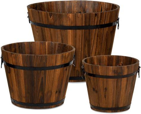 decorx set   wooden bucket barrel garden planters set