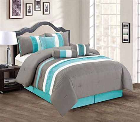 modern bed sets queen modern 7 piece bedding teal blue grey white pin tuck