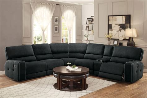fabric reclining sectional keamey modern fabric recliner sectional set