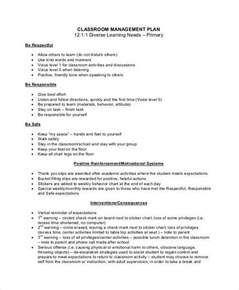 11 Classroom Management Plan Templates Sle Templates Classroom Management Plan Template