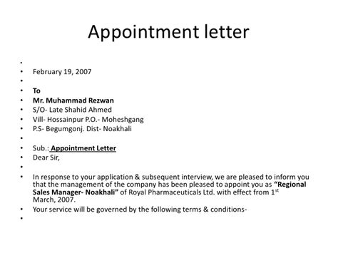 appointment letter format as per labour act appointment letter format designated manager appointment