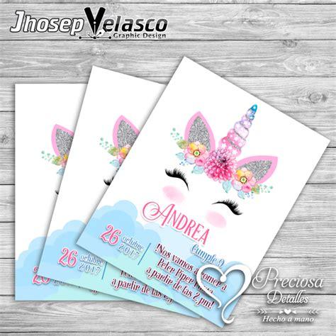 imagenes de invitaciones infantiles invitacion unicornio preciosa detalles