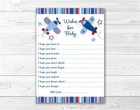 printable advice cards for baby shower lil aviator airplane printable baby shower wishes for baby