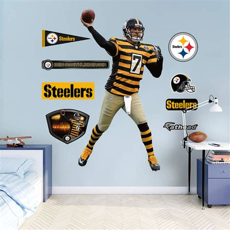 Steelers Decor by Size Ben Roethlisberger Throwback Wall Decal Shop