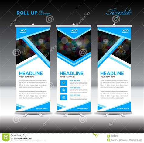 layout design of banner blue roll up banner template stand template design