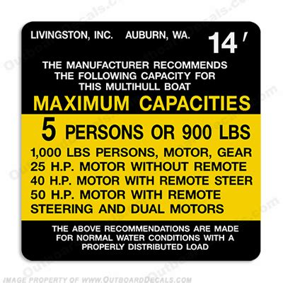livingston capacity decal 5 person