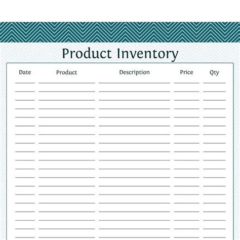 Product Inventory Business Planner Printable Pdf Shop Pinterest Food And Beverage Product Inventory Template