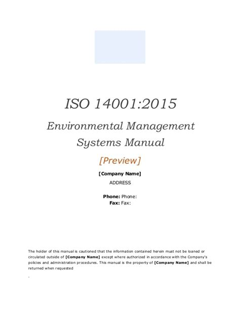 Iso 14001 2015 Ems Manual Template Preview Iso 14001 2015 Template Free