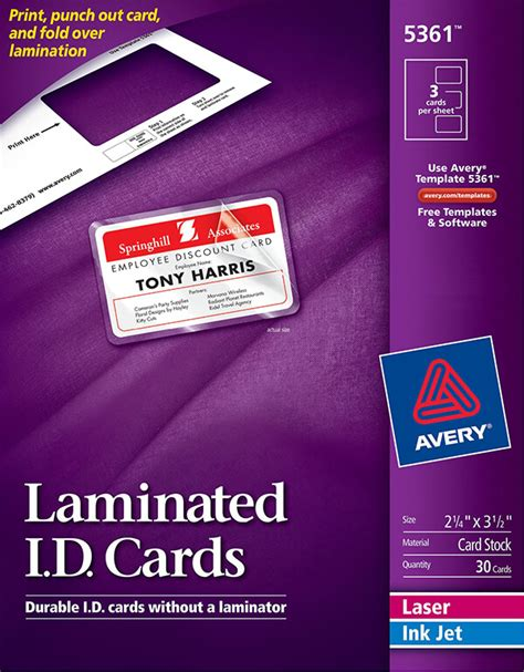 avery laminated id cards template avery 174 laminated id cards 5361 avery singapore