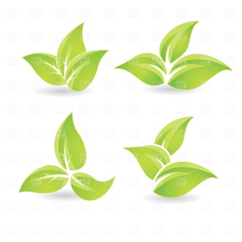 leaf clip free green leaves vector clipart
