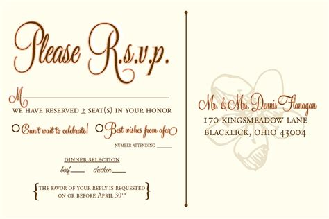 Dinner Response Card Template by Rsvp Wedding Template Wording Wedding Design