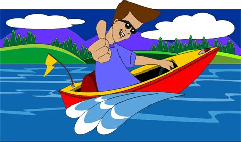 cartoon fast boat clipart thumbs up boy in speed boat with landscape