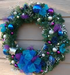 turquoise blue and purple christmas wreath