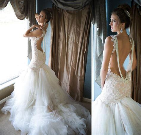 white mermaid backless bridal gowns spaghetti