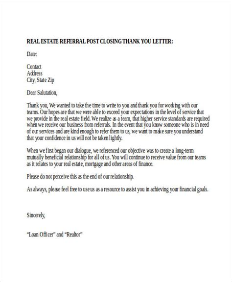 real estate referral letter examples new free blank purchase