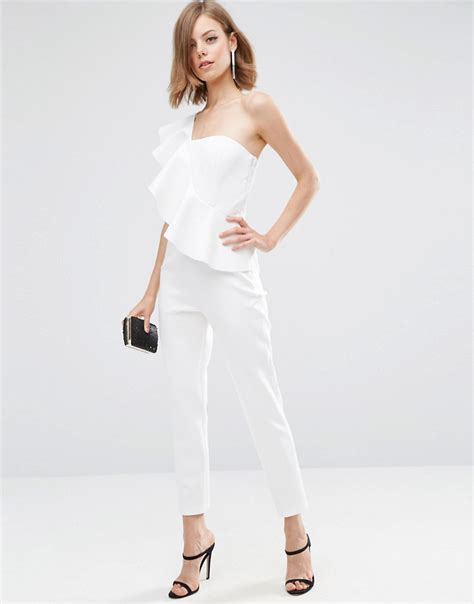 Overall Skirt Leona Dress Jumpsuit With Inner Werpak Jumper lyst asos jumpsuit in scuba with one shoulder ruffle in white