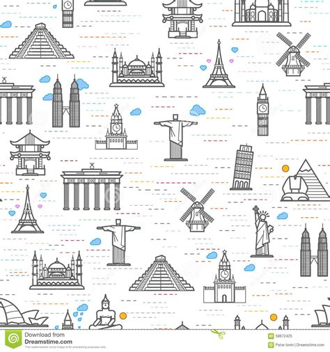 pattern drawing application seamless pattern of the attractions of the world stock