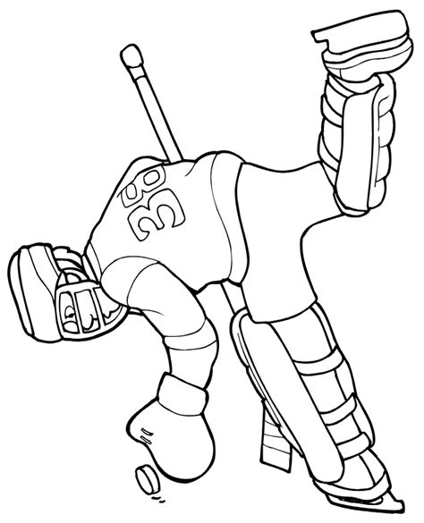 hockey coloring page goalie making glove save