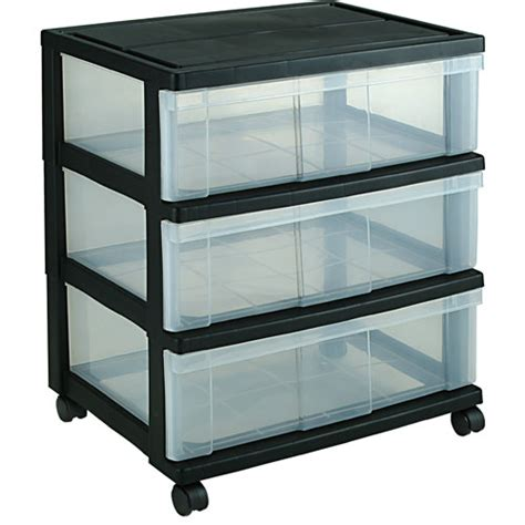 Black Plastic Drawers Iris Wide Three Drawer Storage Chest Black In Storage