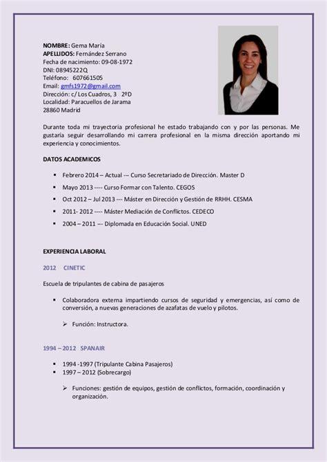 Modelo Curriculum Tripulante De Cabina Cv
