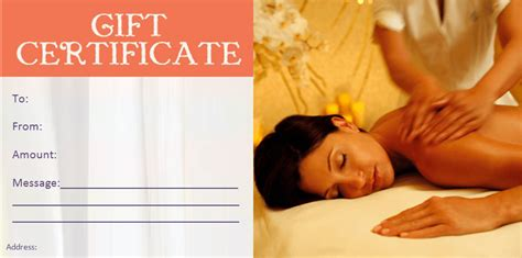 printable gift certificate spa gift certificate templates beauty and spa gift certificates