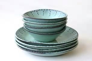 stoneware dinnerware set 8 peices aqua mist deep salad