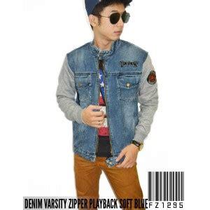 David Jaket Korea Denim Fleece Pria Zipper denim varsity zipper playback jacket soft blue